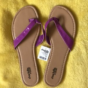 Charlotte Russe Purple Strap Slippers / Flip Flops